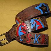 Аксессуары handmade. Livemaster - original item strap leather CSKA. Handmade.