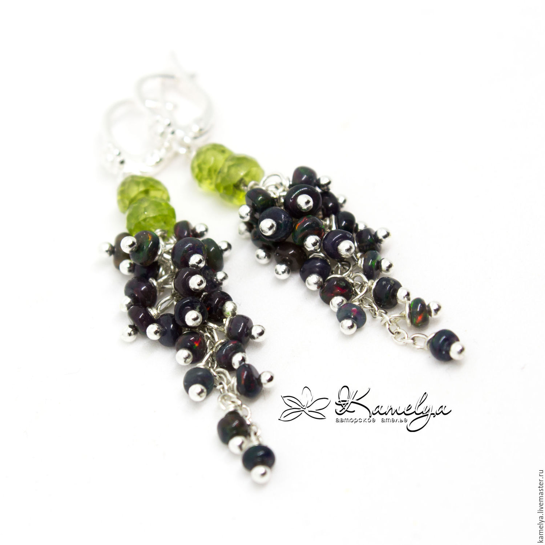 Earrings-bunches with black opal and chrysolite 'Luxury' 925 sterling silver, Earrings, Yaroslavl,  Фото №1