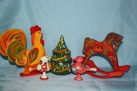 Народные куклы ручной работы. Ярмарка Мастеров - ручная работа. Купить Игрушки деревянные расписные. Handmade. Неваляшка музыкальная, петушок