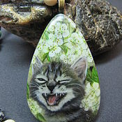 Украшения handmade. Livemaster - original item The pendant with the cat