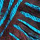 Бирюзово-шоколадный шёлковый шарф с геометрическим узором из шерсти. Шарфы. Ковылина Анна. Ярмарка Мастеров.  Фото №6