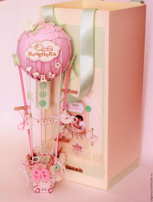 """Открытки на все случаи жизни ручной работы. Ярмарка Мастеров - ручная работа. Купить Детская открытка с пакетом """"Воздушный шар2"""" (подарок, для денег). Handmade."""