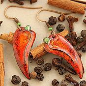 Украшения ручной работы. Ярмарка Мастеров - ручная работа Серьги настоящий Перец Red Hot Really Pepper. Handmade.