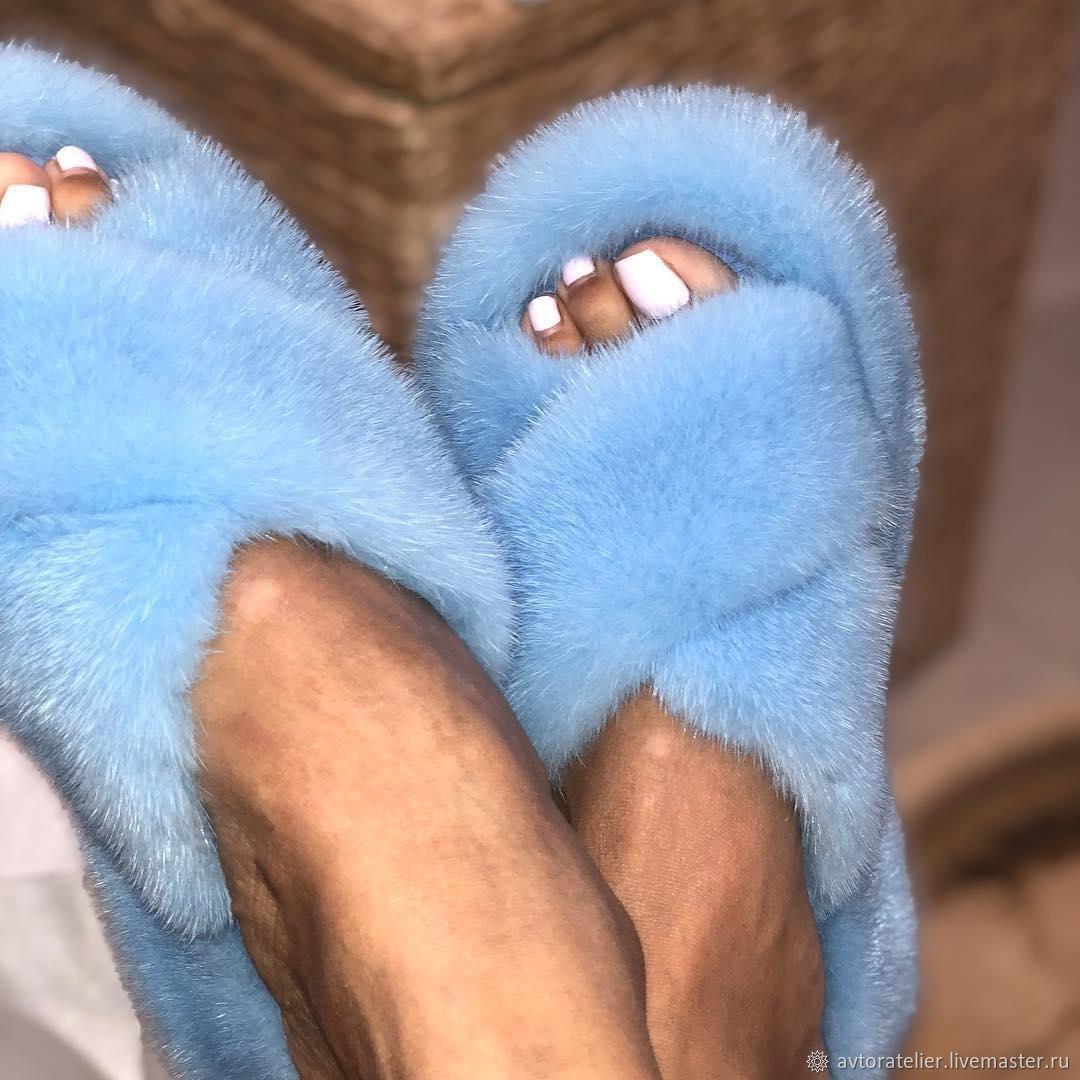 Тапочки из норки голубые, Тапочки, Москва,  Фото №1