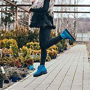 Обувь ручной работы. Ярмарка Мастеров - ручная работа Купить ботинки женские Бирюзовые. Handmade.