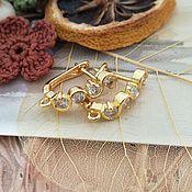 Материалы для творчества handmade. Livemaster - original item Earrings with zircons with lock 18 mm gold (Ref. 3069). Handmade.
