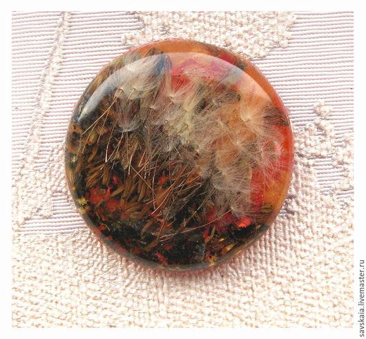 Кабошон круглый, с одуванчиком, 35 мм