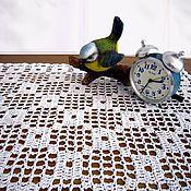 Для дома и интерьера ручной работы. Ярмарка Мастеров - ручная работа Благородная простота. Белая салфетка-дорожка. Хлопок.Филейное вязание. Handmade.