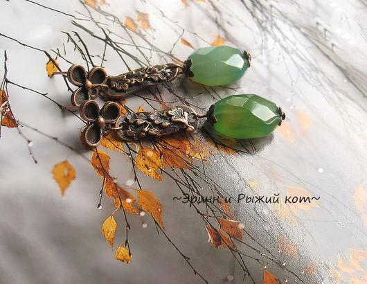 """Серьги ручной работы. Ярмарка Мастеров - ручная работа. Купить Серьги """"Зелень дубовых листьев"""". Handmade. Зеленый, зеленый агат"""
