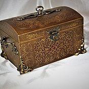 handmade. Livemaster - original item Box chest Golden chest large. Handmade.