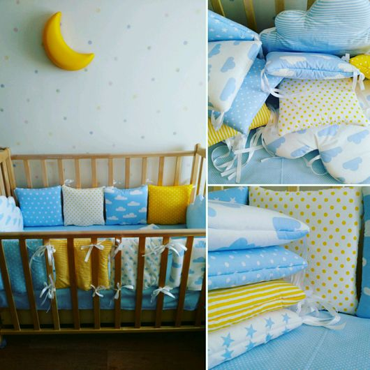 Для новорожденных, ручной работы. Ярмарка Мастеров - ручная работа. Купить Бортики в кроватку. Handmade. Комбинированный, бортики в детскую кровать