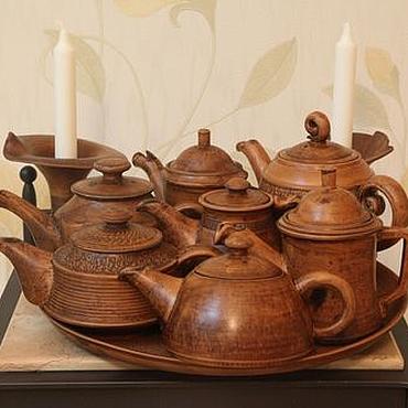 Посуда ручной работы. Ярмарка Мастеров - ручная работа Чайники (глина, лощение, молочение). Handmade.