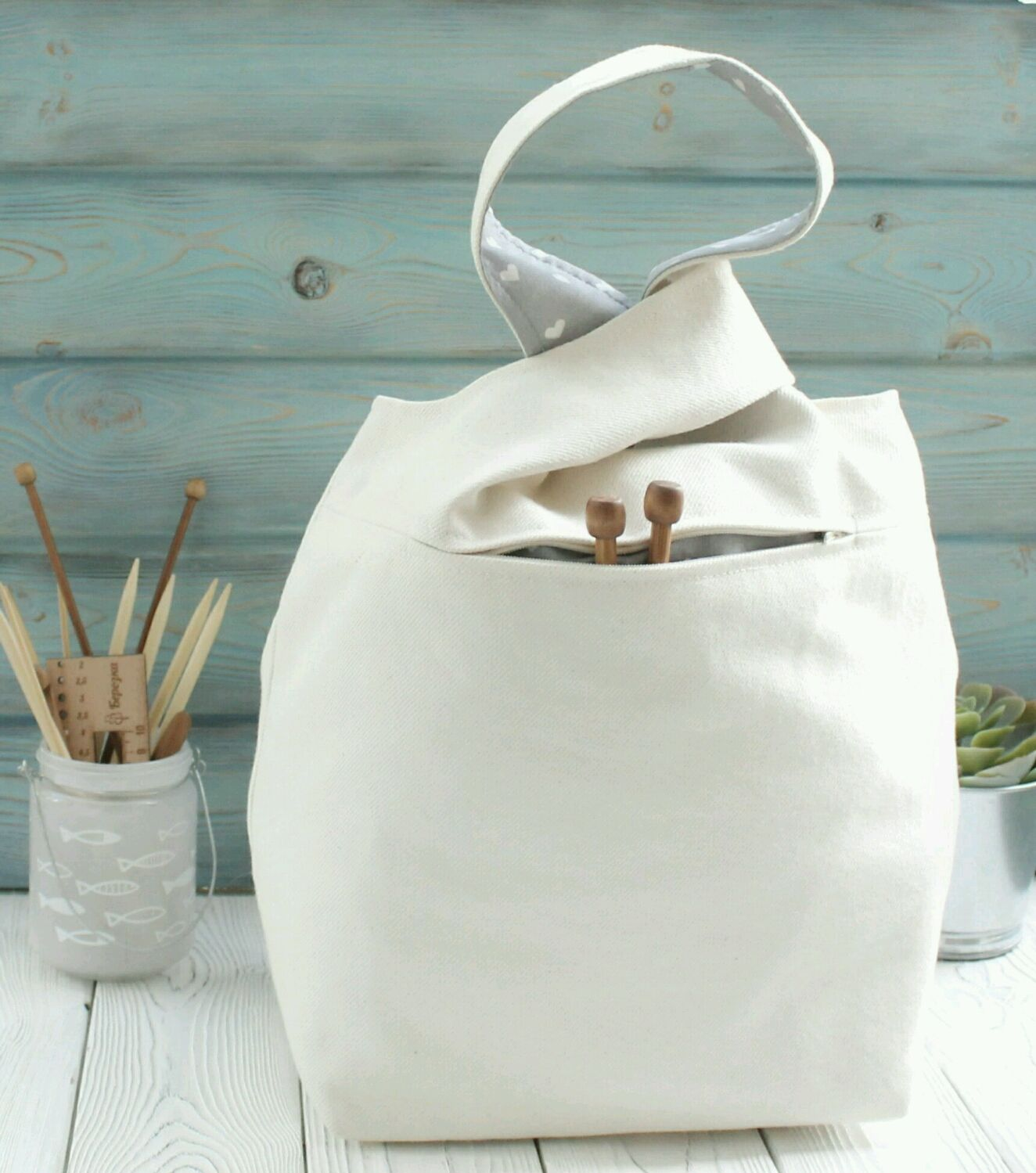 Органайзеры для рукоделия ручной работы. Ярмарка Мастеров - ручная работа. Купить Проектная сумка для вязания большая с карманом на молнии Project bag. Handmade.