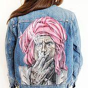 Одежда ручной работы. Ярмарка Мастеров - ручная работа Джинсовая куртка с ручной росписью. Handmade.