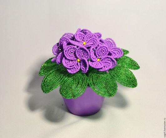Цветы ручной работы. Ярмарка Мастеров - ручная работа. Купить Фиалки из бисера. Handmade. Цветы ручной работы, фиалки из бисера