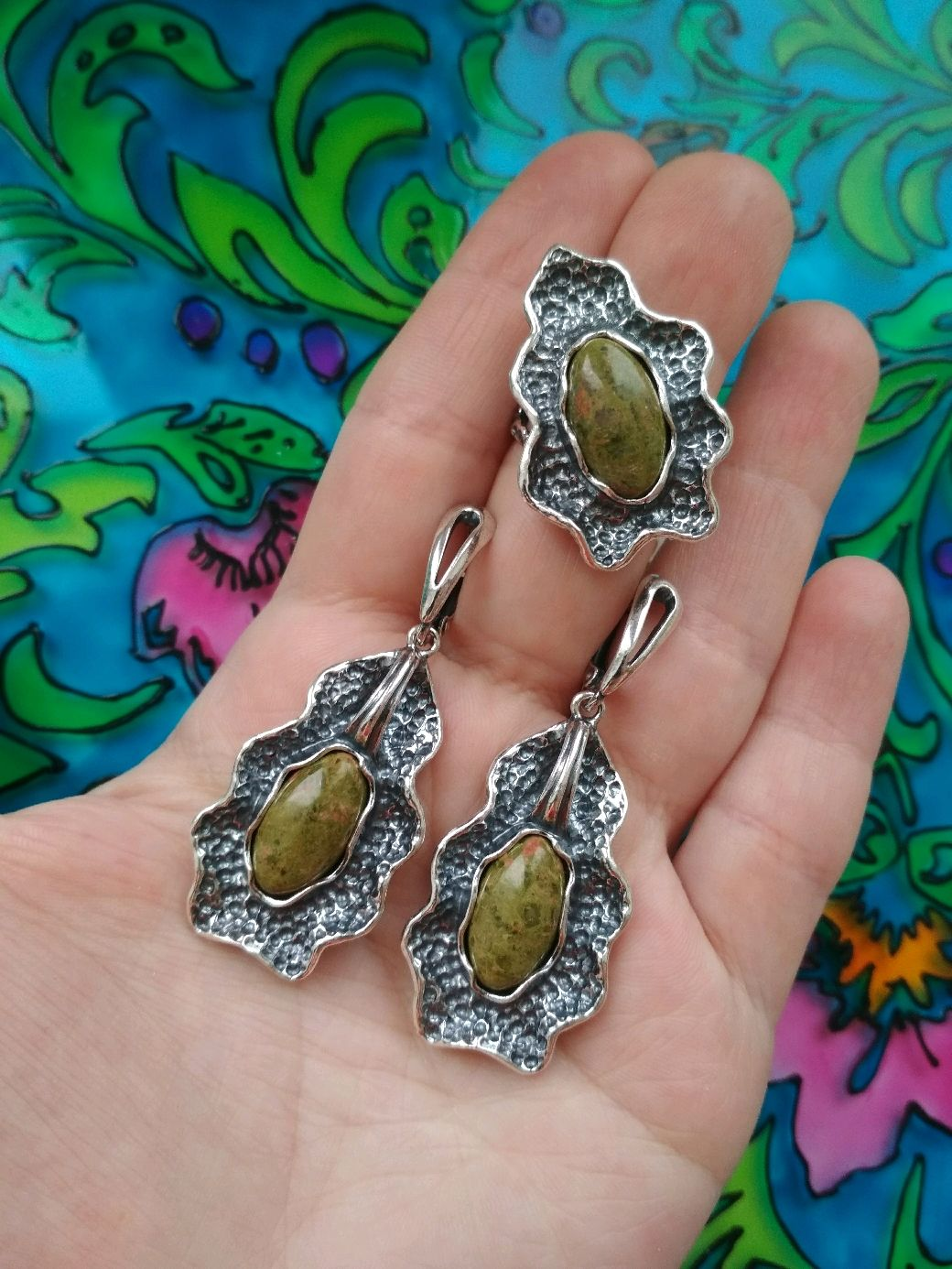 A139# Set of Silver Plated Earrings and Ring with Stones, Jewelry Sets, Ivanovo,  Фото №1