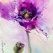 Картины и панно ручной работы. Ярмарка Мастеров - ручная работа Акварель лиловый мак. Handmade.