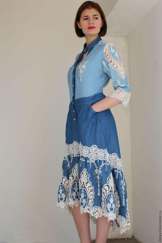 Платья ручной работы. Ярмарка Мастеров - ручная работа. Купить платье из джинсовой ткани с вышивкой. Handmade. Голубой, орнамент, Макраме