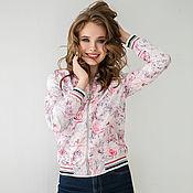 handmade. Livemaster - original item Bomber jacket summer Pink Sport-Chic flowers, light summer jacket. Handmade.