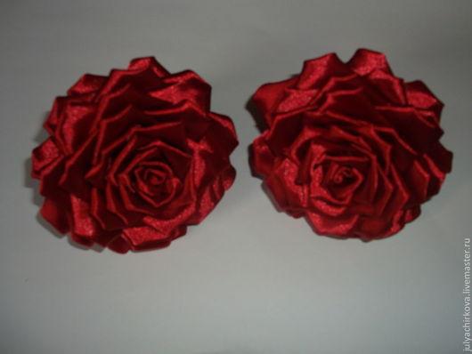 Заколки ручной работы. Ярмарка Мастеров - ручная работа. Купить Дивная роза. Handmade. Ярко-красный, украшение с цветами