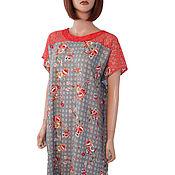 Одежда handmade. Livemaster - original item Red and gray light long summer dress