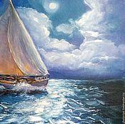 Картины и панно ручной работы. Ярмарка Мастеров - ручная работа Картина масло пейзаж ночное море Явление луны. Handmade.