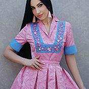 """Одежда handmade. Livemaster - original item Нарядное платье с вышивкой """"Розовый жаккард"""". Handmade."""