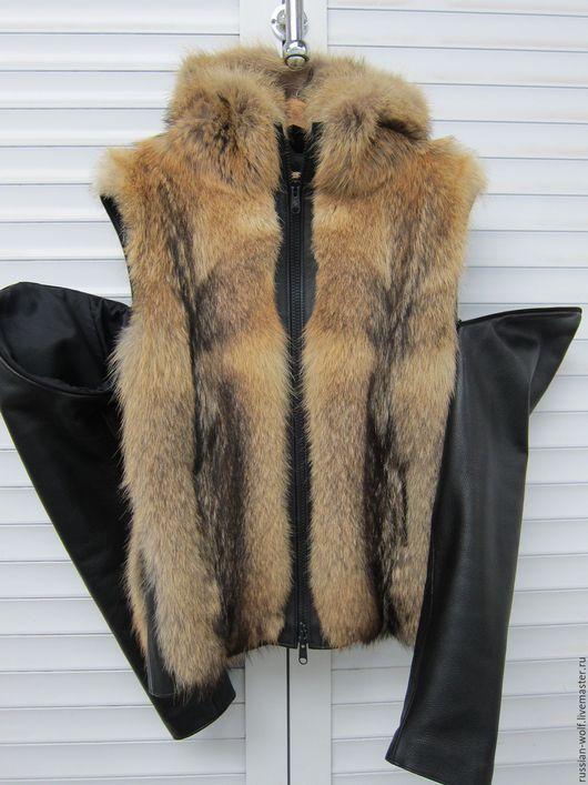 Для мужчин, ручной работы. Ярмарка Мастеров - ручная работа. Купить Жилет-куртка мужской или женский с кожанными рукавами. Handmade.