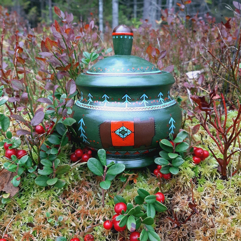 Деревянная баночка с авторской росписью, Банки, Санкт-Петербург,  Фото №1