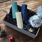 """Свечи ручной работы. Ярмарка Мастеров - ручная работа Набор из 3 свечей """"Холодная зима"""". Handmade."""