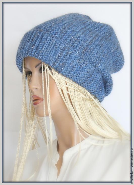 """Шапки ручной работы. Ярмарка Мастеров - ручная работа. Купить """"Сингапурка"""" шапка вязаная джинс. Handmade. Синий, шапка бини"""