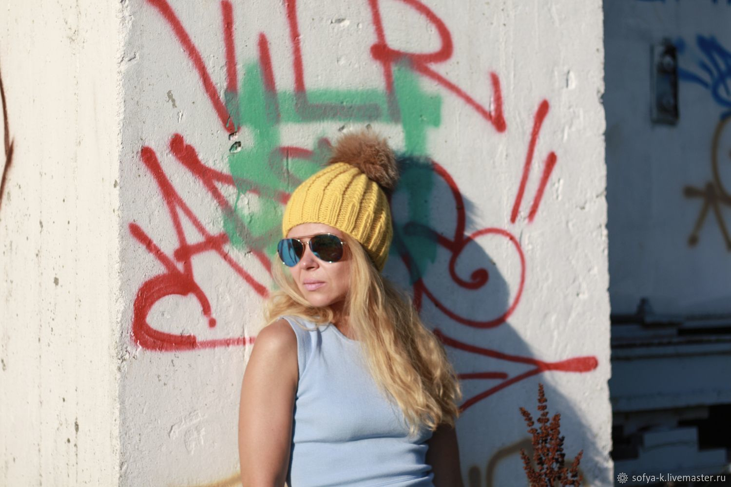 Woolen hat with braids yellow 'Mimosa', Caps, Moscow,  Фото №1