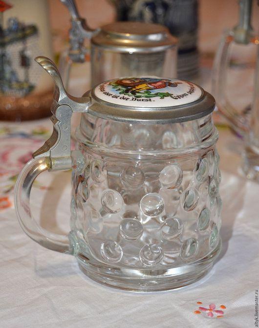 Винтажная посуда. Ярмарка Мастеров - ручная работа. Купить Винтажная стеклянная пивная кружка с оловянной крышкой.. Handmade. Серый
