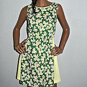Одежда ручной работы. Ярмарка Мастеров - ручная работа Платье из хлопка с цветочным принтом. Handmade.
