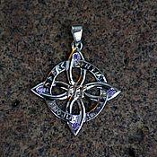 Украшения handmade. Livemaster - original item Quatrefoil with the runes Fehu and amethysts. Handmade.