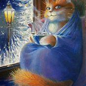 Картины ручной работы. Ярмарка Мастеров - ручная работа Картины: Зимний кот. Handmade.