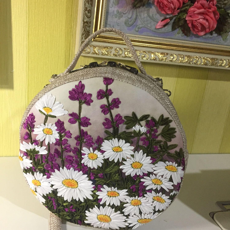 Сумка  круглая кроссбоди «Луговые цветы», Классическая сумка, Астрахань,  Фото №1