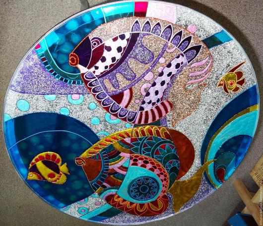 """Мебель ручной работы. Ярмарка Мастеров - ручная работа. Купить Стол с витражной росписью """"Тропические рыбки"""". Handmade. Разноцветный, стекло"""