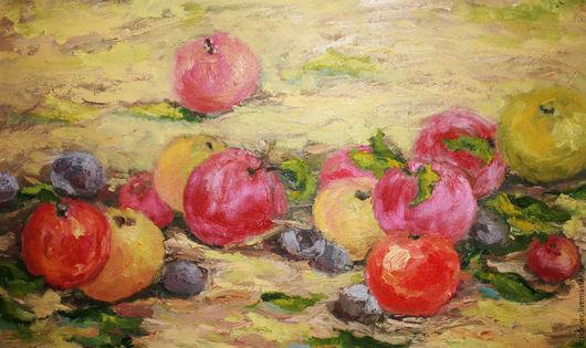 """Натюрморт ручной работы. Ярмарка Мастеров - ручная работа. Купить Картина маслом """"Яблочный спас"""". Handmade. Ярко-красный, яблоки"""