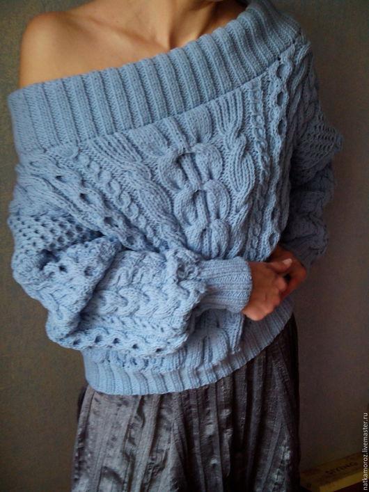 Кофты и свитера ручной работы. Ярмарка Мастеров - ручная работа. Купить Свитер в стиле Рубан из хлопка. Handmade. Голубой