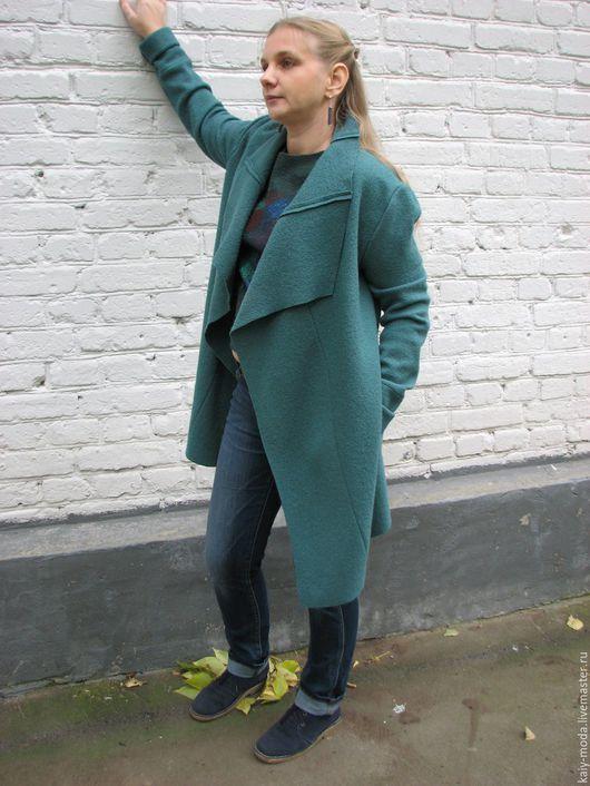 Верхняя одежда ручной работы. Ярмарка Мастеров - ручная работа. Купить Легкое пальто из лодена - Темная мята. Handmade. Мятный
