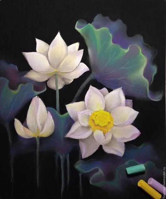 Картина пастелью Лотосы Купить картину цветов Картина пастелью цветы