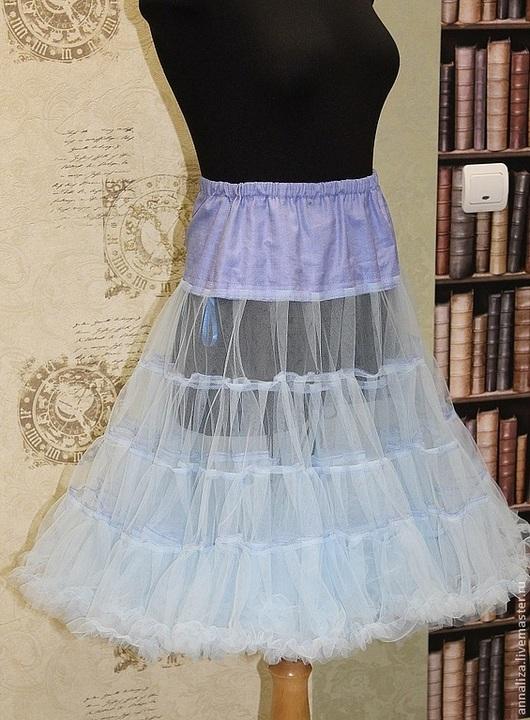 Юбки ручной работы. Ярмарка Мастеров - ручная работа. Купить Нижняя юбка (подъюбник) небесный. Handmade. Голубой, юбка из фатина