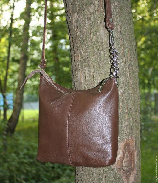 """Женские сумки ручной работы. Ярмарка Мастеров - ручная работа. Купить """"Шоколадка"""" Маленькая сумочка кросс-боди на длинном ремешке. Handmade."""