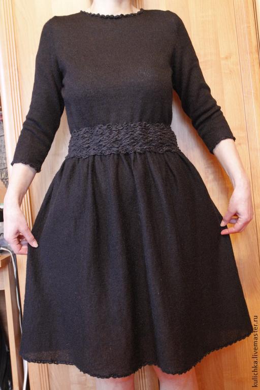 Платья ручной работы. Ярмарка Мастеров - ручная работа. Купить Маленькое черное платье (вязаное). Handmade. Однотонный, платье вязаное
