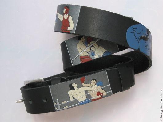 Пояса, ремни ручной работы. Ярмарка Мастеров - ручная работа. Купить БОКС ремень кожаный. Handmade. Бокс, ринг, джеб