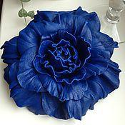 Украшения ручной работы. Ярмарка Мастеров - ручная работа Синяя роза. Брошь из кожи.. Handmade.
