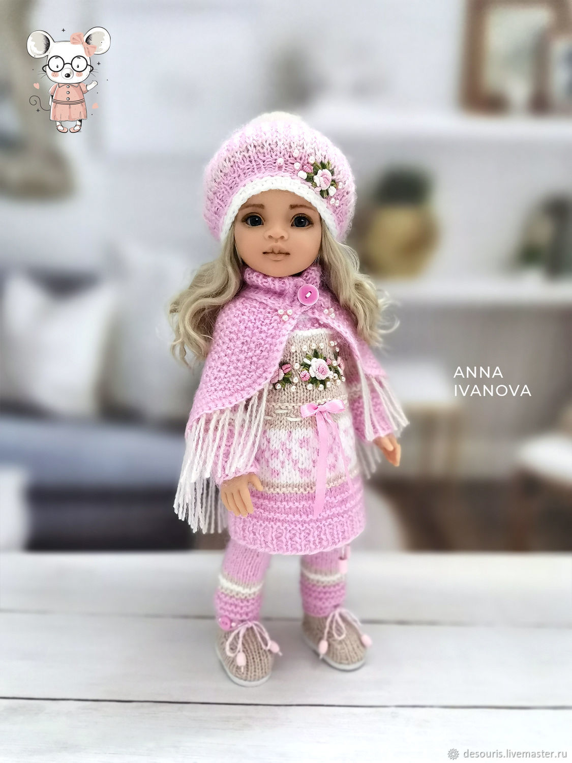 Clothes for Paola Reina dolls. Pink suit with cape, Clothes for dolls, Voronezh,  Фото №1