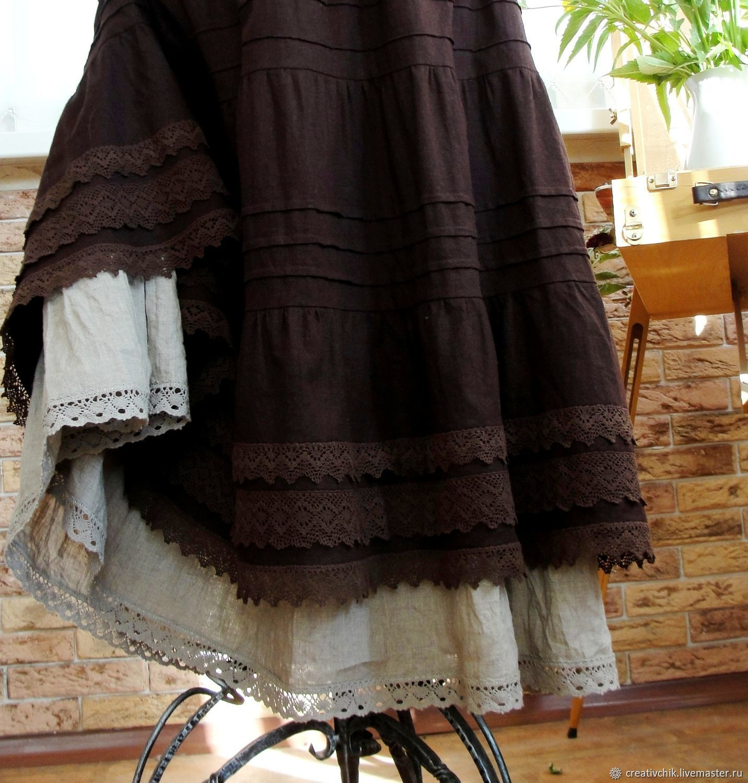 Skirt Boho linen long Bitter chocolate, Skirts, Volgograd,  Фото №1