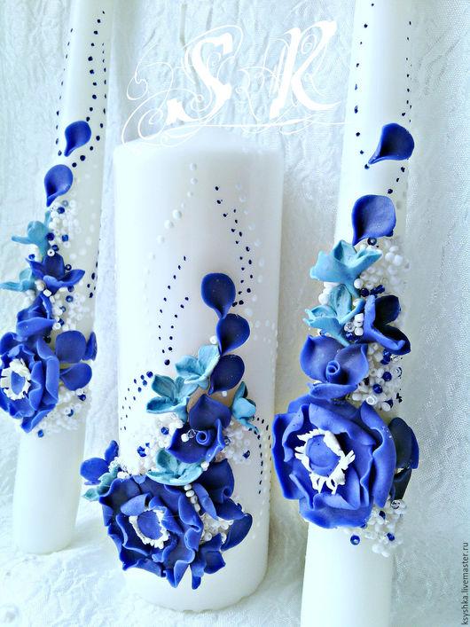 Свадебные аксессуары ручной работы. Ярмарка Мастеров - ручная работа. Купить Семейный очаг,синий.Свадебные свечи. Handmade. Синий